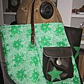 Sac cabas FELICIE n°19 en coton fleuri vert et blanc et simili cuir chocolat