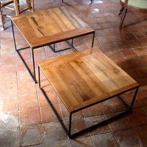 table basse chene metal (2)