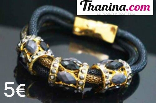 bracelet fermeture noire et gris aimanté doré