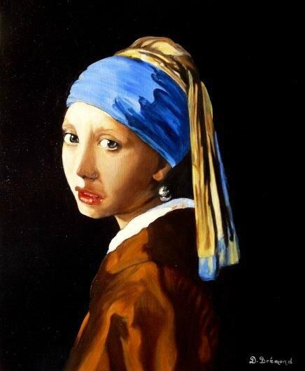 La jeune fille à la perle 1 d'après Vermeer - Huile 41 x 33 - 1er mai 2009