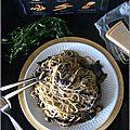 Capellini aux champignons, estragon & roquefort