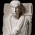 Funerary bust with bilingual inscription,