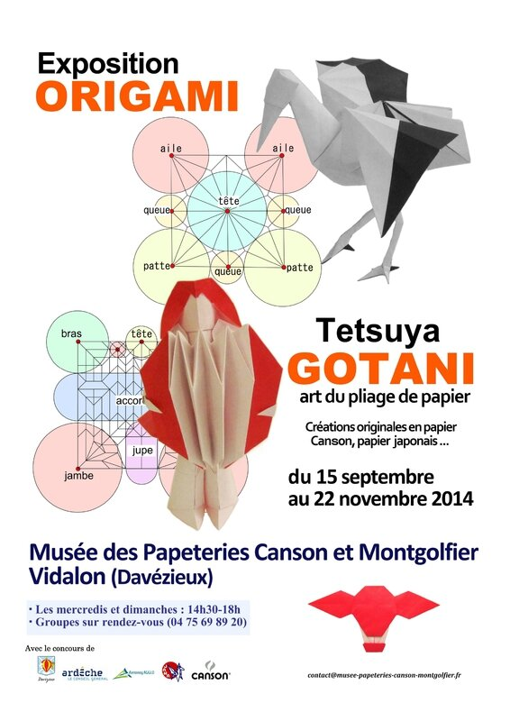 Affiche expo origami Tetsuya GOTANI au musee canson et montgolfier 2014