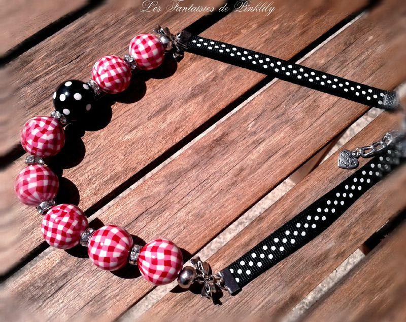 Glamour, vichy ruby collier pois noir 29€ (vendu)