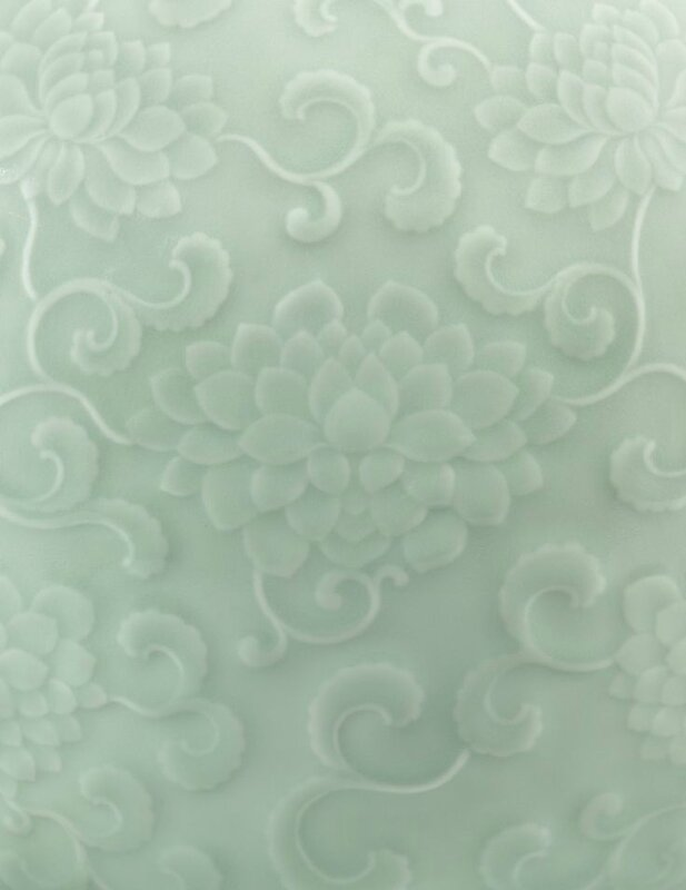 A magnificent and very rare carved celadon-glazed moonflask, Seal mark and period of Yongzheng (detail) 2
