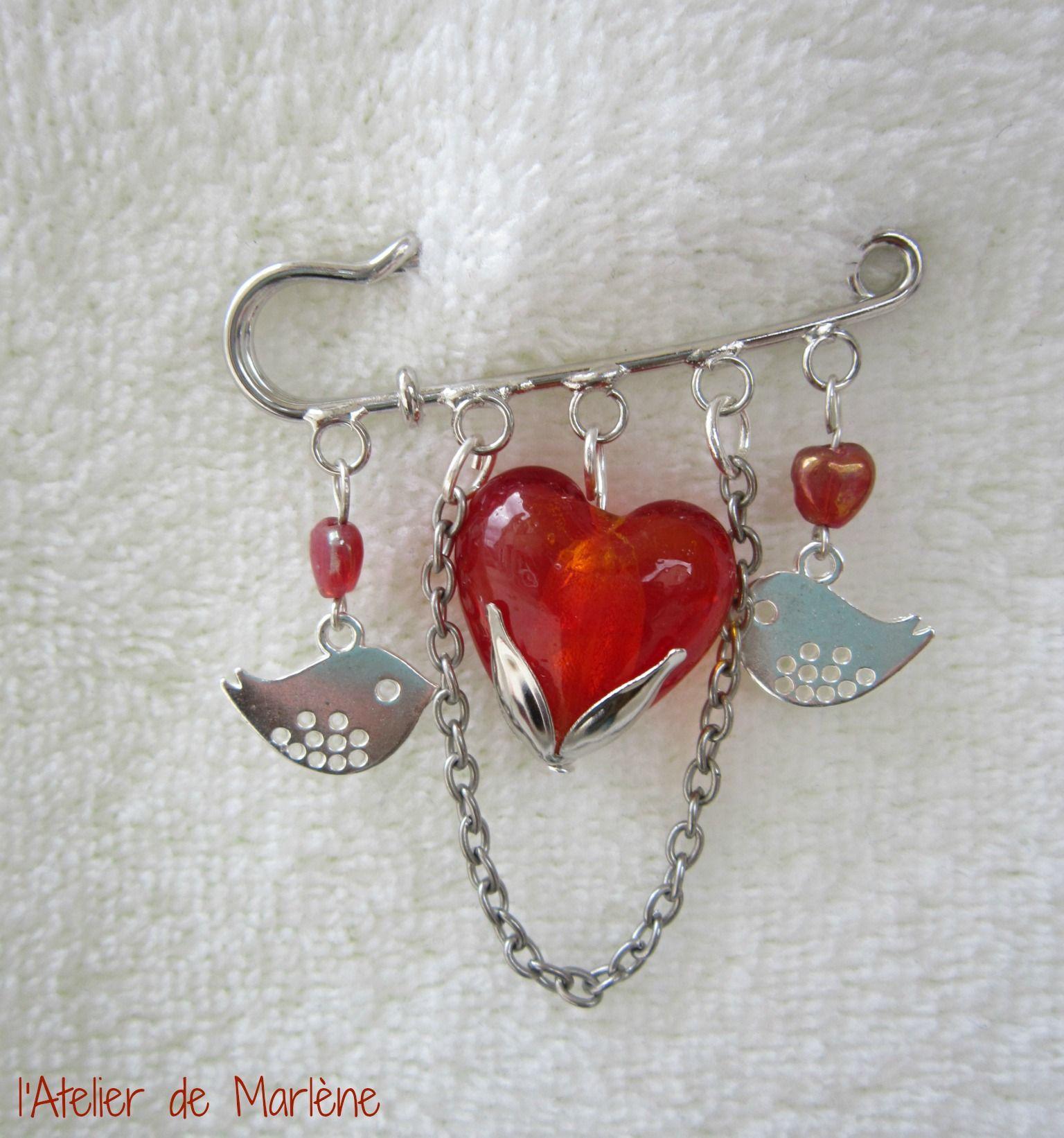 broche coeur rouge Zozios (Br18)