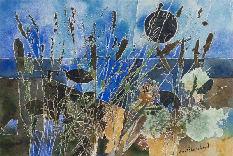 ANDRE-MARCHAND-(1907-1998)-DANS-LE-VALLON-DE-BANGOR-BELLE-ILE-EN-MER-1968-AQUARELLE-&HELLIP-