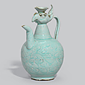 A carved Qingbai-glazed 'Phoenix-head' ewer, Song dynasty (970-1279)