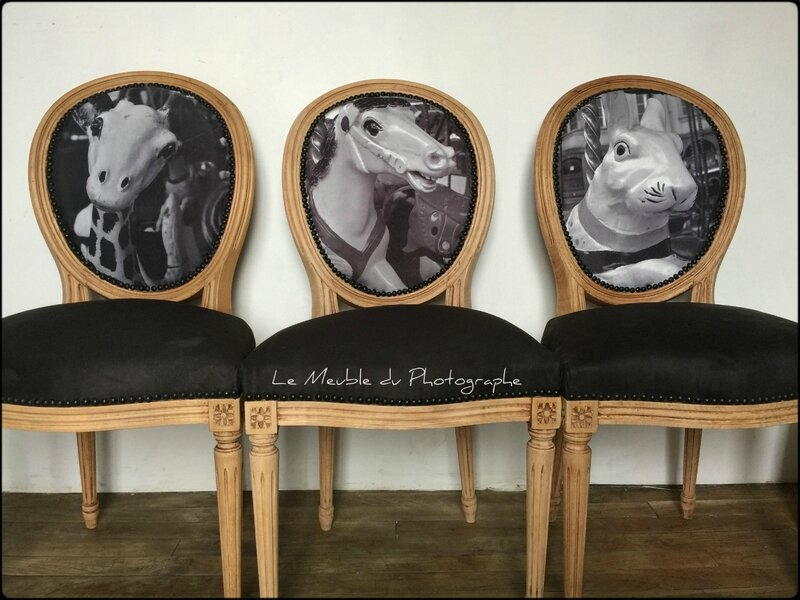 Chaise medaillon girafe, cheval, lapin, photo noir et blanc
