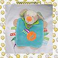 Doudou Plat Chien Bleu Vert Orange Etiquettes Les ZétiK'T BabyNat