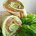 Wraps guacamole et saumon fumé