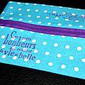 Du bleu ... du violet ... des pois ... des fleurs ... un vélo ... une trousse plat et des petits bonheurs !