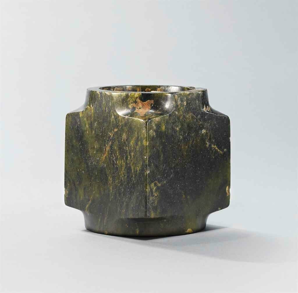 A dark spinach-green jade cong, Shang dynasty (c
