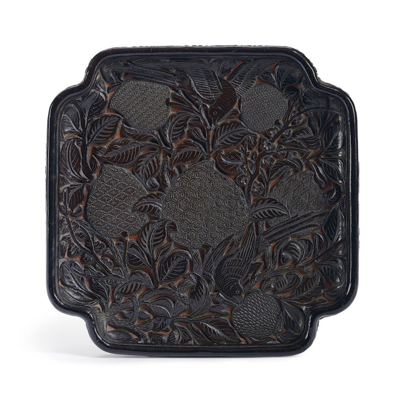 A carved black and red lacquer square 'Birds' tray, Ming dynasty (1368-1644)