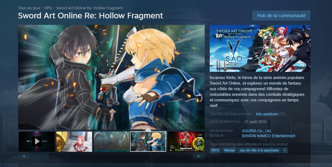 SAO re hollow steam