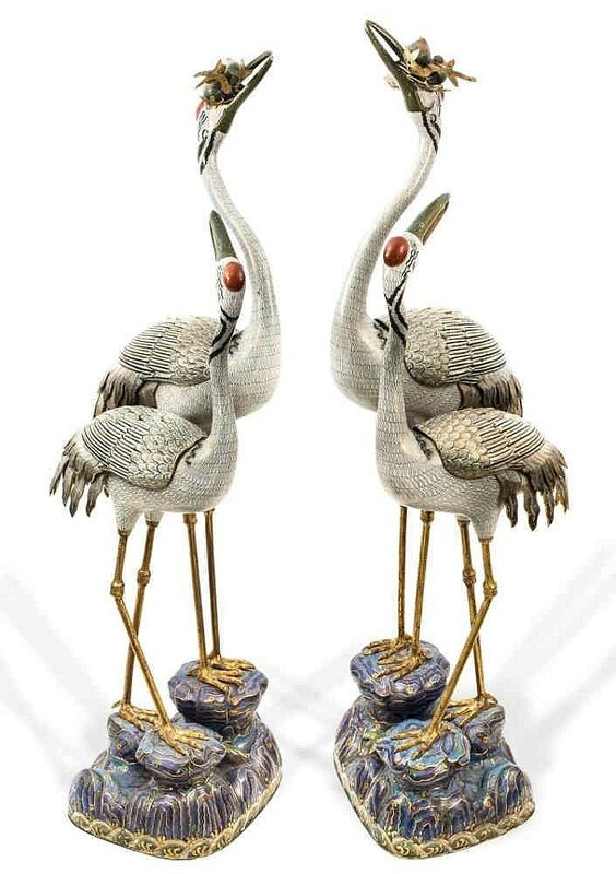 A pair of cloisonné enamel double crane censers