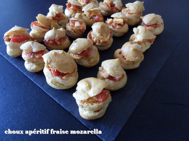choux apéritif fraise mozarella