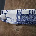 Véritable NOEUD PAPillon en coton toile de Jouy bleu sur fond écru (1)