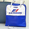 Vintage ... sac de voyage air france * bleu blanc rouge