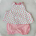 Ensemble tablier croisé et bloomer rose