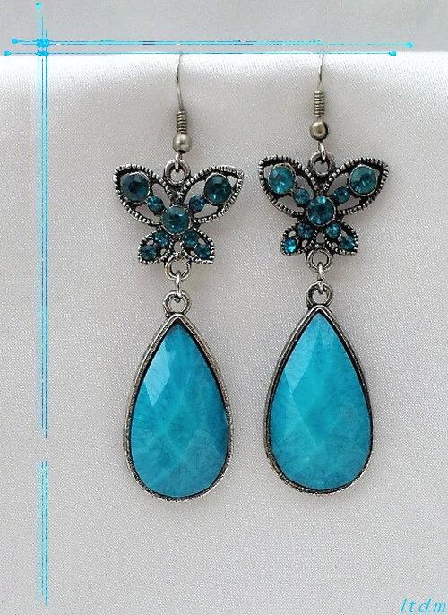 Boucles d'oreille Style Tibétain Papillon Gama Perle Strass Turquoise Argent du Tibet