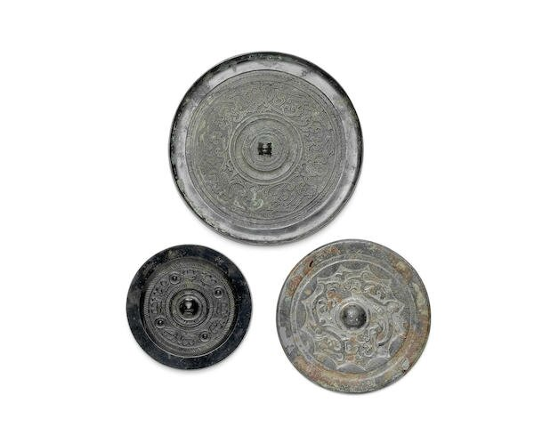 Three bronze circular mirrors, Warring States to Eastern Han Dynasty