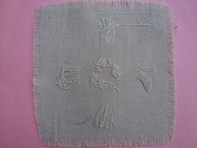 retissage étamine de laine envers