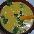 Velouté de lentilles corails aux carottes et surimi persillé