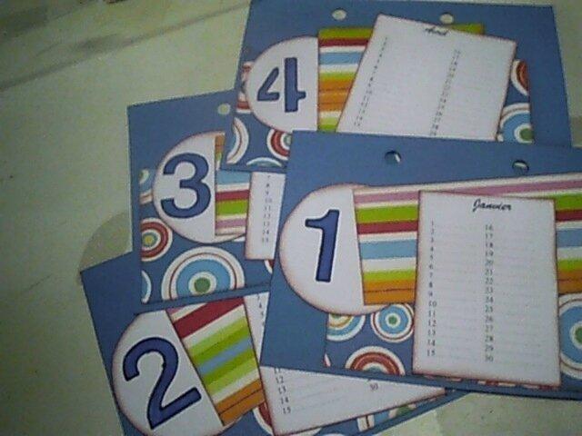 fiches pour calendrier