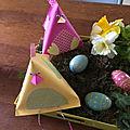 Poule papier berlingot pour pâques