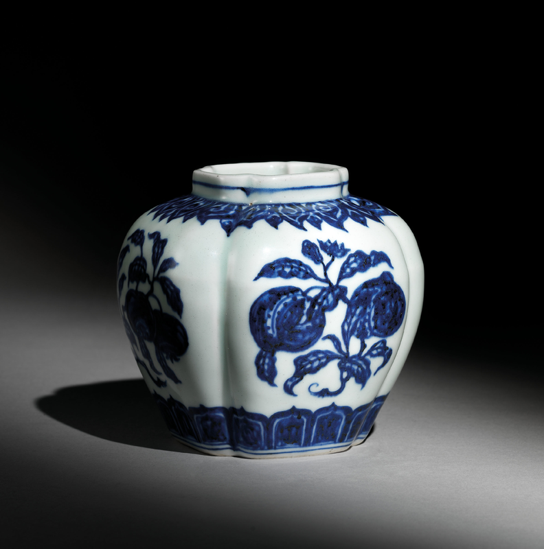 A blue and white 'Floral spray' lobed jar, Xuande six-character mark in underglaze blue within a double circle and of the period (1426-1435)