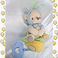 Doudou Pluche Musical Ours Déguisé en Papillon Bleu Jaune Beige Nature Bearries Fisher Price