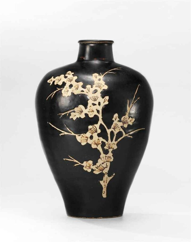 A Jizhou resist-decorated and carved brown-glazed meiping, Southern Song dynasty (1127-1279)