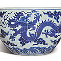 A blue and white 'dragon' jardinière, qianlong seal mark and period (1736-1795)