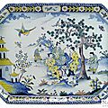 A big french chinoiserie pattern octogonal shaped faience tray (table tray), rouen, 1st half of 18th century