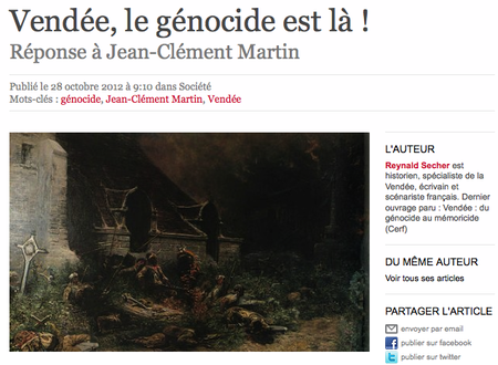 Génocide vendéen Reynald Secher