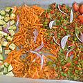 Salade de légumes et crevettes au four