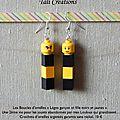 Boucles d'oreilles Legos garçon et fille noirs et jaunes P