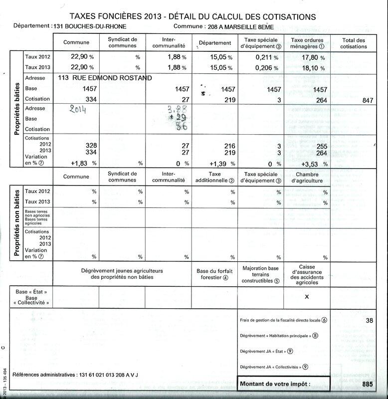 Taxe Ordures Menageres 2013