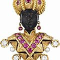 Nardi. a ruby, diamond and cultured pearl blackamoor brooch