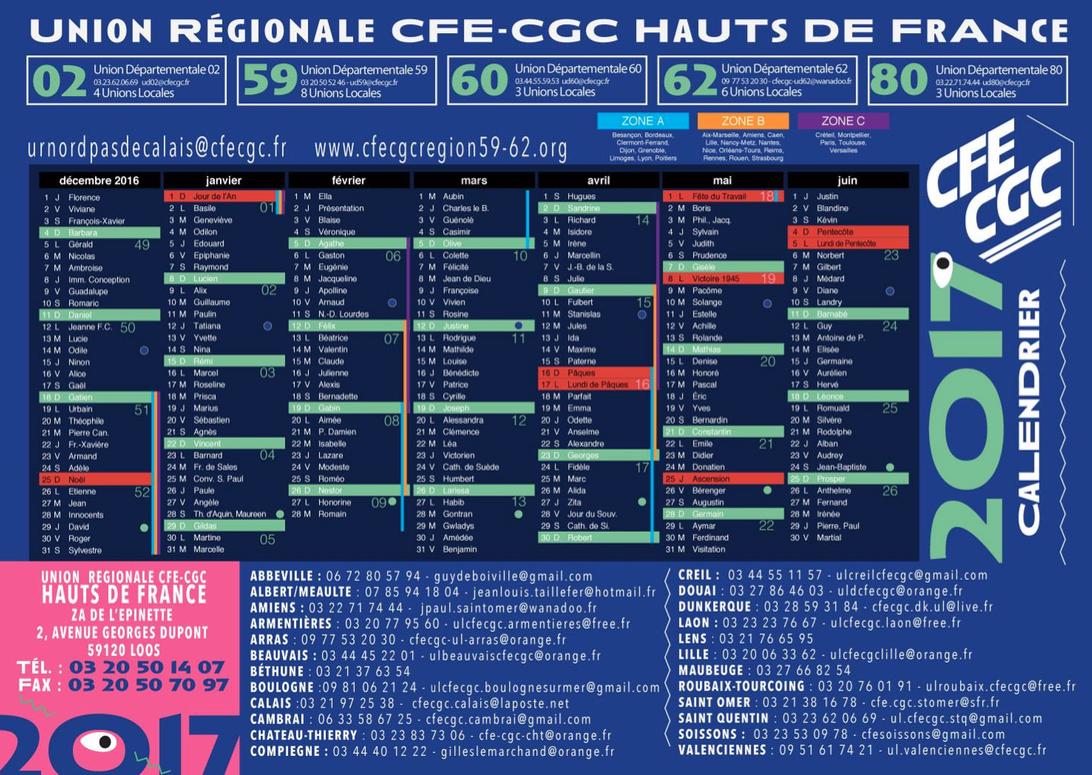 L'Union Régionale CFE-CGC HAUTS DE FRANCE dévoile son calendrier 2017 à l'occasion du Salon des CE de Lille !