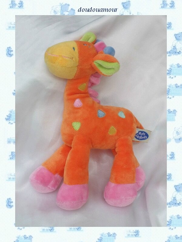 Doudou Peluche Girafe Orange Rose Jaune Mots D'enfants 25 cm