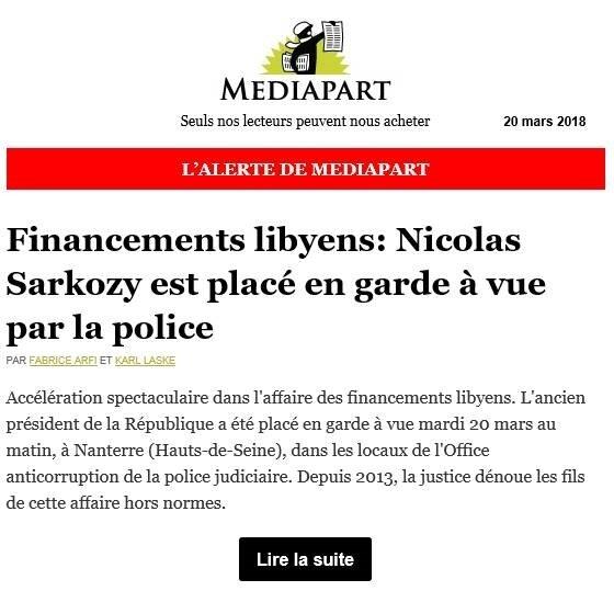 Médiapart Sarkozy Lybie Garde à vue 20 mars 2018