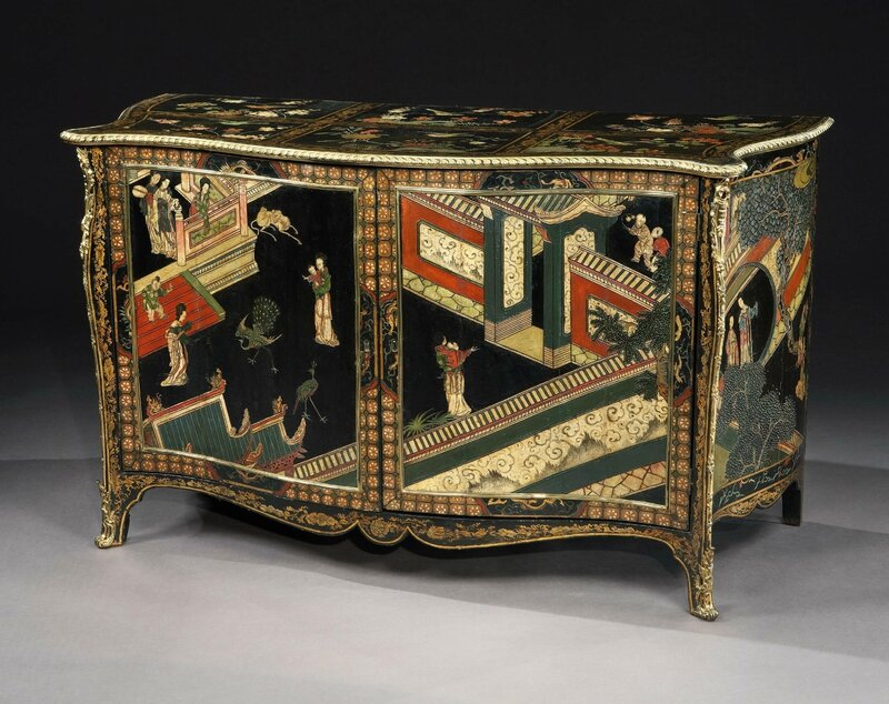 of george iii period ormolu mounted coromandel lacquer and black gilt japanned serpentine commodes attributed to pierre langlois english circa 1770