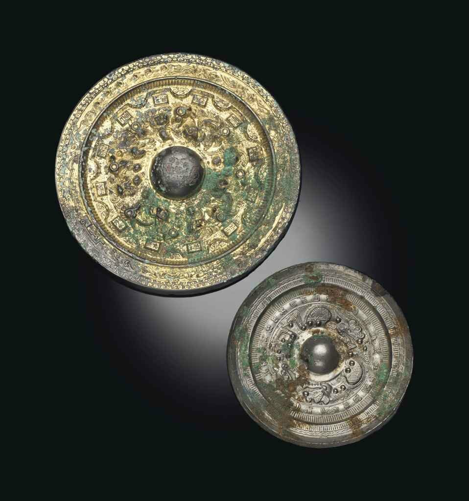 A gilt-bronze circular mirror, Eastern Han dynasty (25-220)