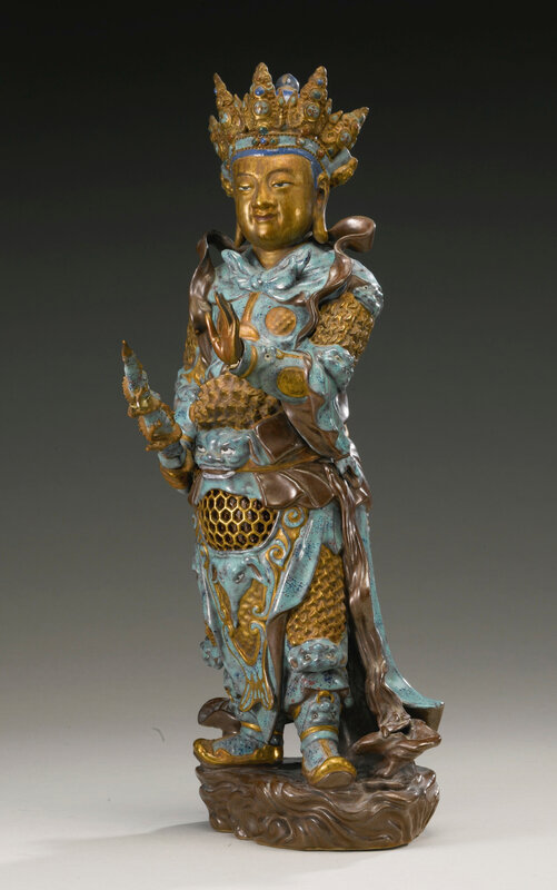 An enamel and gilt-decorated porcelain figure of Weituo, Qing dynasty, 18th-19th century1