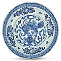 A chinese blue and white porcelain shallow bowl, ming dynasty (1368-1644)