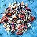 Salade de melon, tomate, concombre et mozzarella