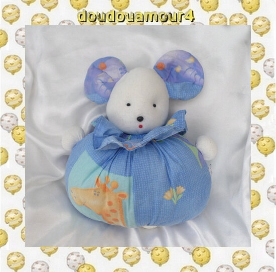 Doudou Peluche Souris Blanc Boule Musical Bleu Girafe Atelier Imagine