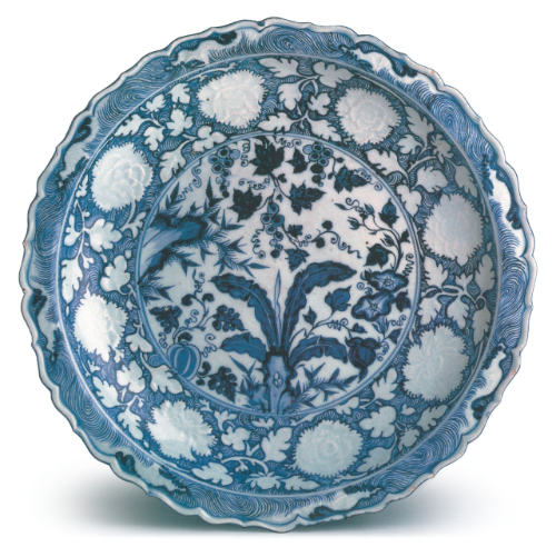 Blue and white barbed 'banana plant and peony' charger, Yuan dynasty, Ottoman court collection, Topkapi Saray Museum, Istanbul
